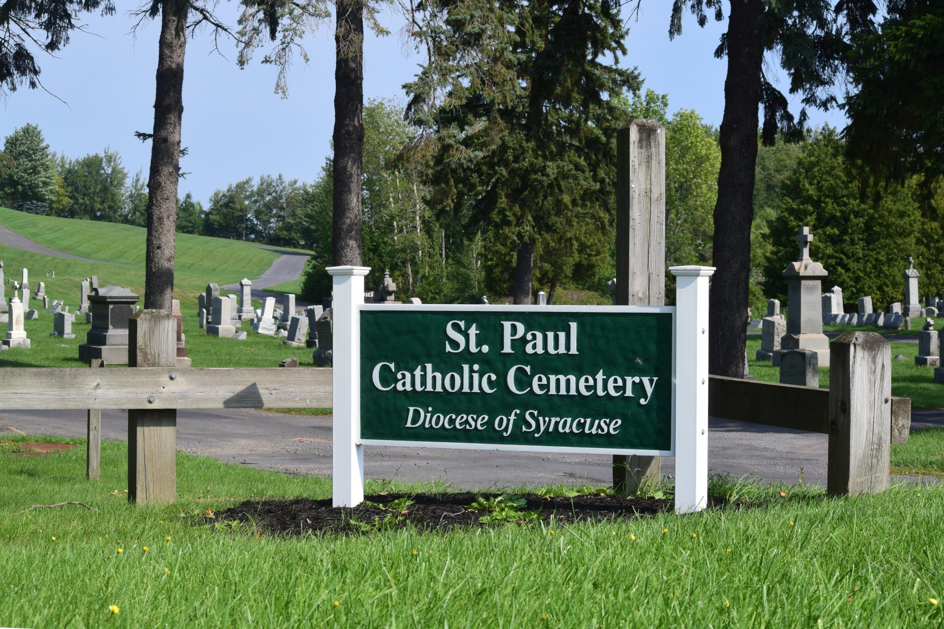 Entrance sign at St. Paul's Cemetery