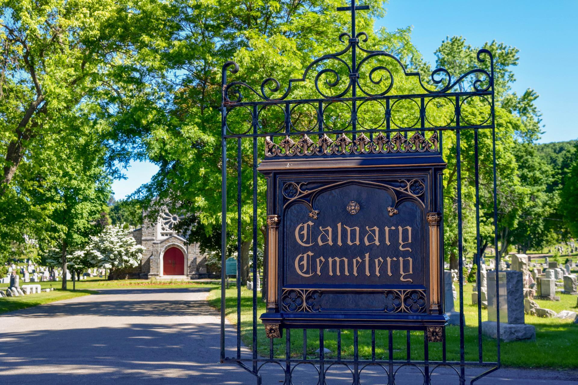 Entrance gate to Calvary Cemetery in Johnson City, NY