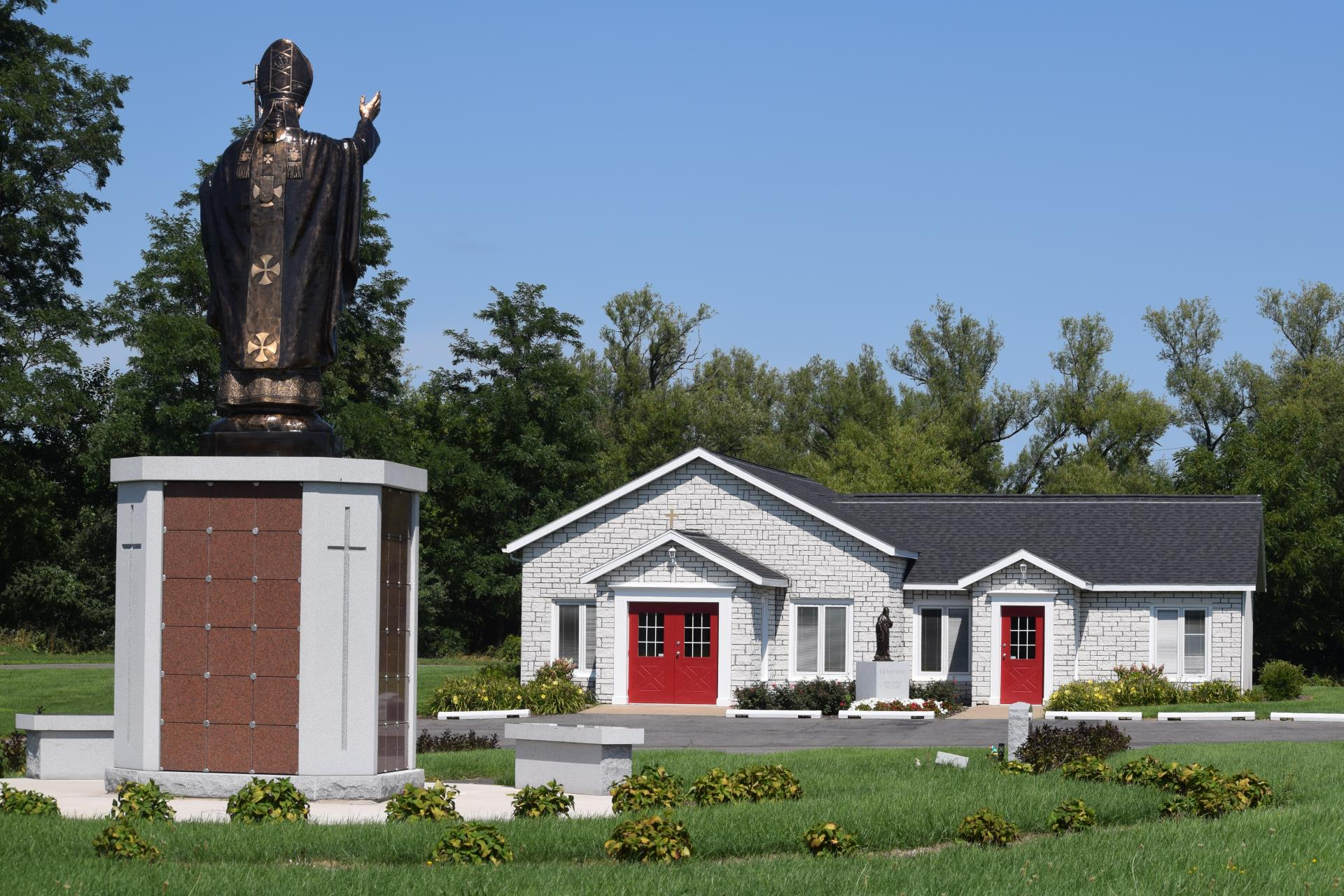 Monument and office at Sacred Heart Cemetery