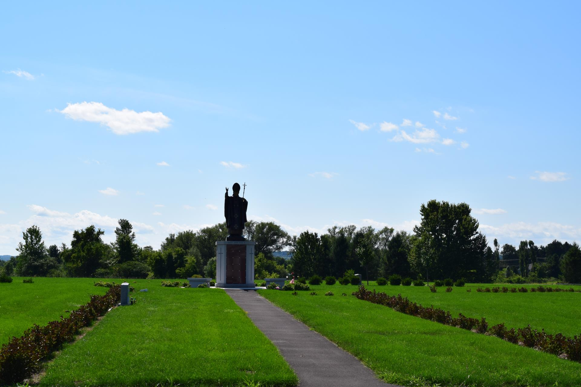 Columbarium from a distance at Sacred Heart Cemetery