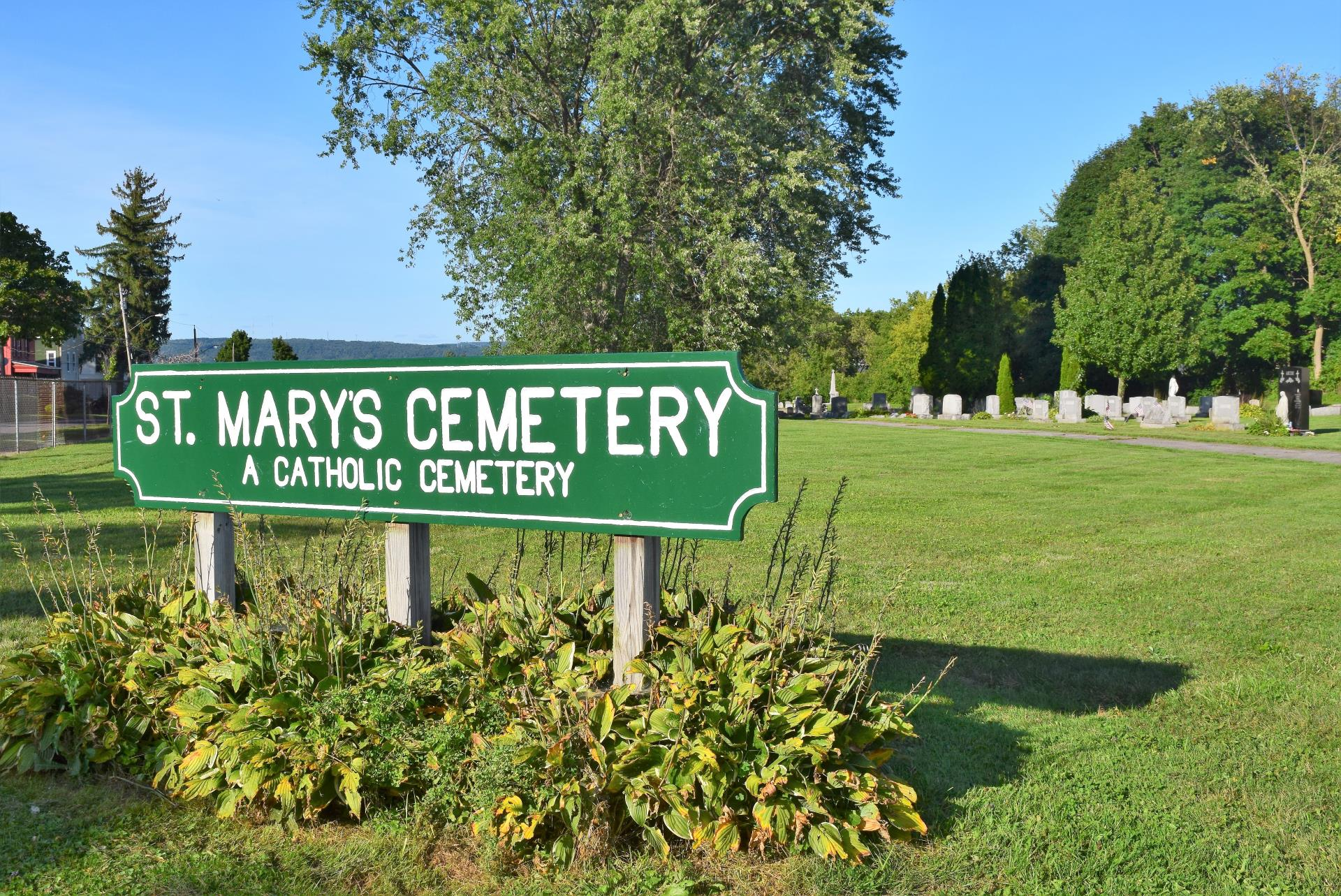 Entrance sign at St. Mary's Cemetery