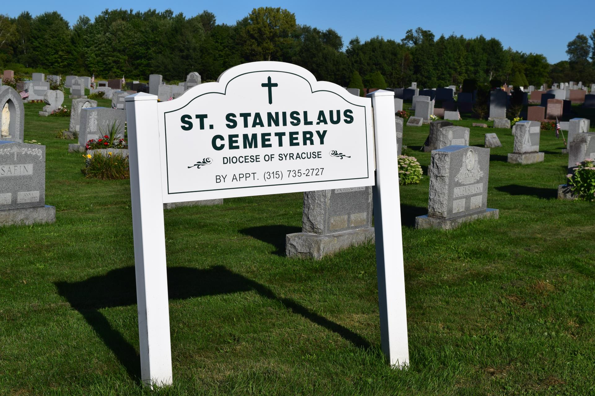 Entrance sign at St. Stanislaus Cemetery